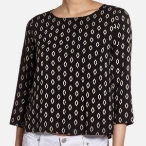 Cupcakes and Cashmere black ikat button back top S